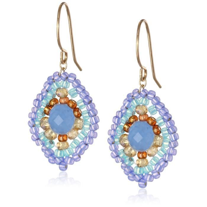 Miguel Ases Blue Quartz And Topaz Hydro Lotus Drop Earrings, 1.4 V927A