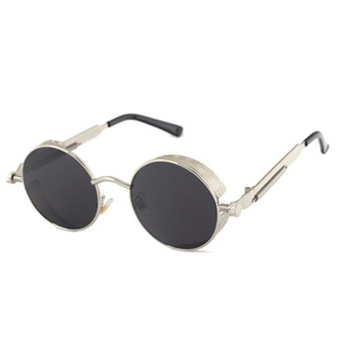 YKS fashion Classique Steampunk lunettes de soleil cadre en argent feuille gris C2