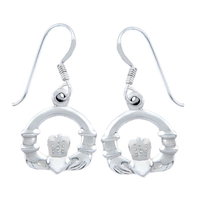 Boucle Oreilles Femme Argent Fin 925/1000 Claddagh French Wire