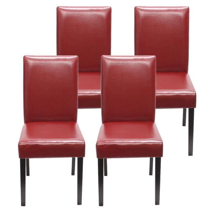 Lot De 4 Chaises De Salle A Manger Rouge Achat Vente Chaise