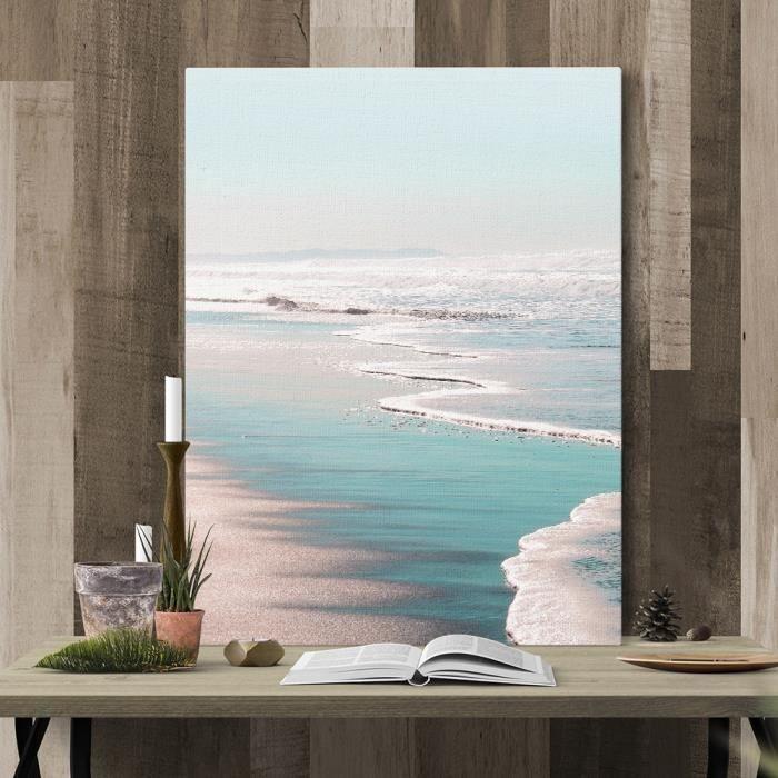 Avec cadre intérieur)Art contemporain paysages côtiers palmier toile ...