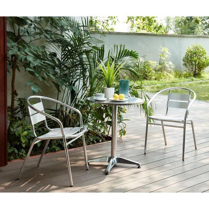 AJACCIO Ensemble bistrot ronde en acier et MDF + 2 fauteuils en aluminium -  Ø 60 x 70 cm
