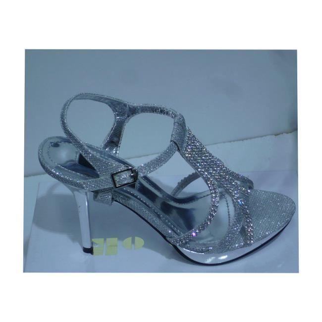 Escarpin mariage femme sylvia 36 noir argent gris argent for Femmes chaussures de mariage noir mariage