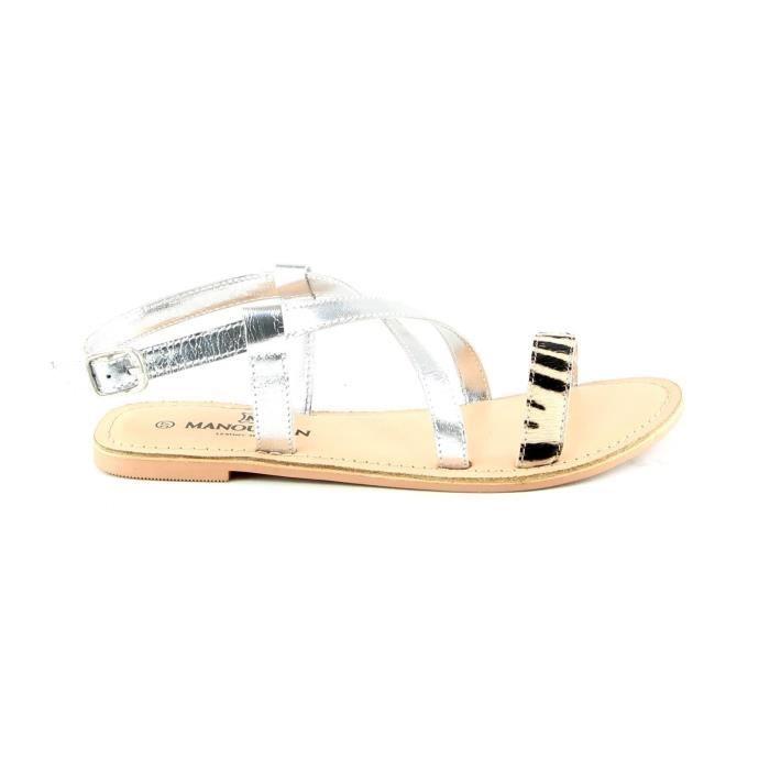 Sandales en cuir - argent