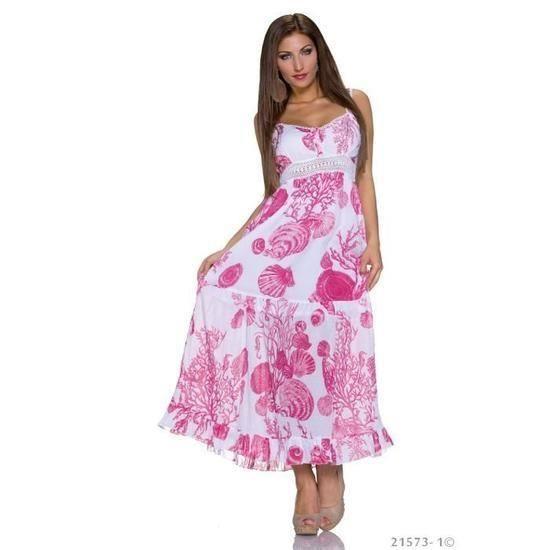 63e00a450cd3 Robe longue blanche fuschia rose dos nu motif imprimé ville casual ...