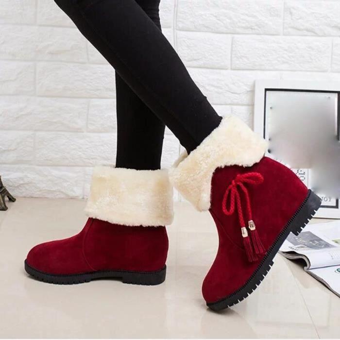 Bottes D'hiver Bottines De Talons Neige Rouge Mode Beguinstore love2715 Femme Chaussures dcqItd