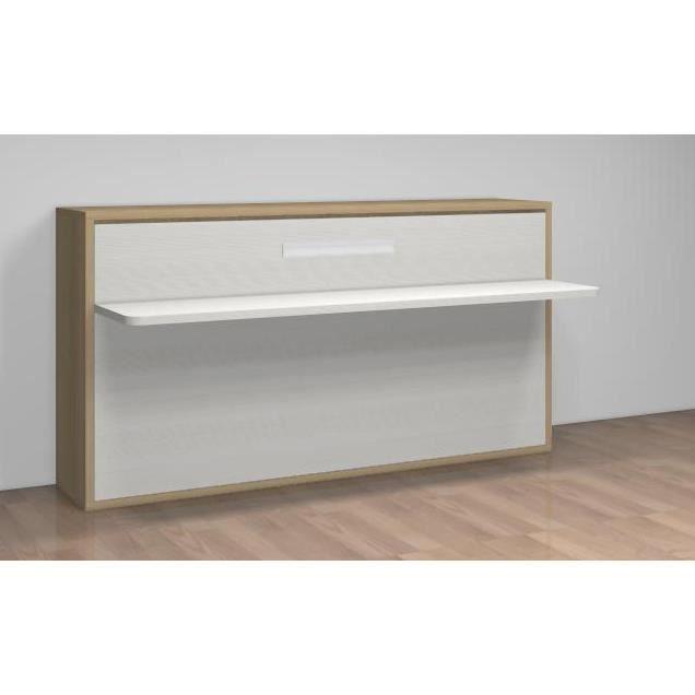 lit relevable avec bureau teo 90x190 blanc ch ne achat vente lit escamotable lit relevable. Black Bedroom Furniture Sets. Home Design Ideas