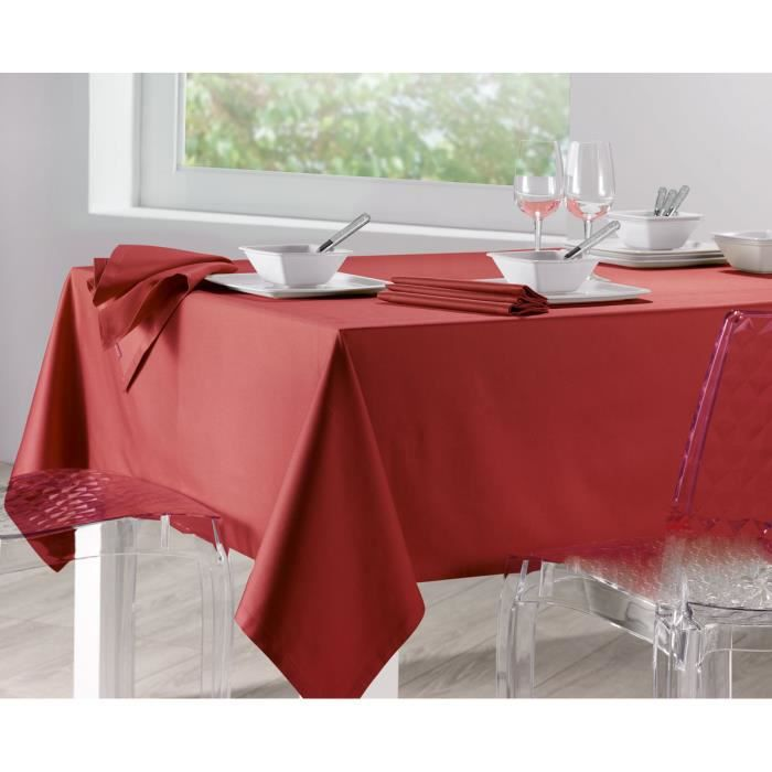 Nappe Carrée 170 x 170 cm Soft Rouge - Achat / Vente nappe de ...