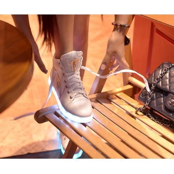 Charge Femmes Haute Lacets Ch Avec Aide Couleurs Occasionnelles 7 Led Chaussures Usb Lumire Rougeoyantes Lumineux 1x7pYtT