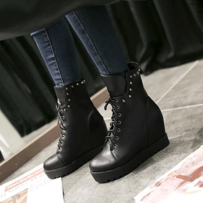 martin boots-Pure Color talon haut talon compensde Lacet de femmes Rivet Bottes