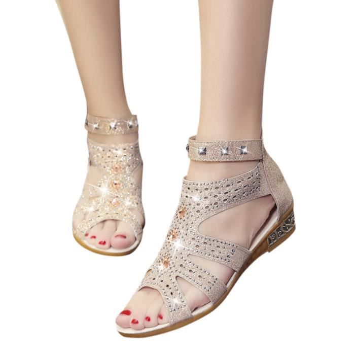 Ladies Beige Fashion Spring Roma Sandals Wedge Summer Fish Hollow Shoes Mouth Femmes Fqaa5P