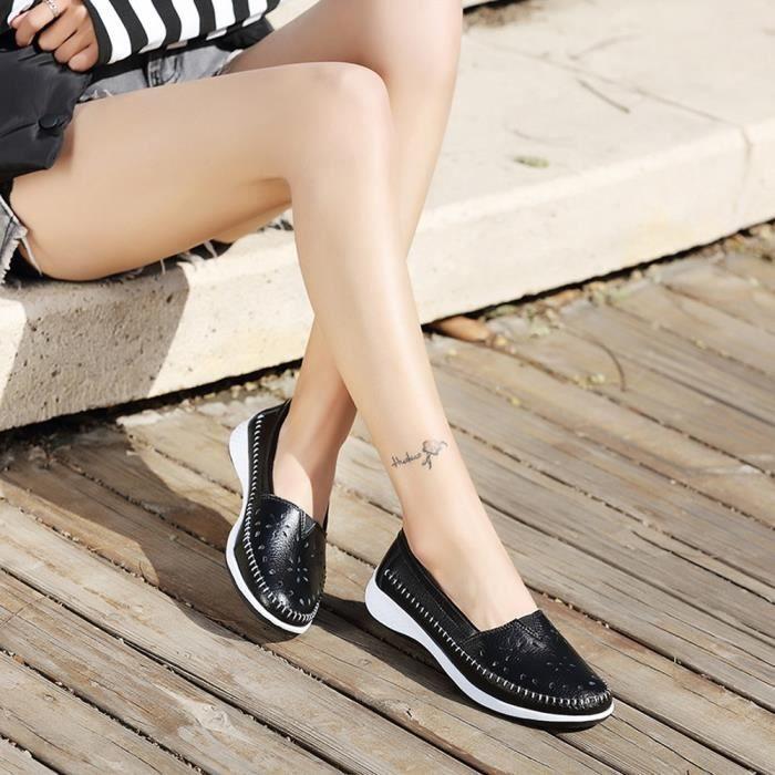 Femmes 6251 Toe Fashion Sneakers Platform Slip Shoes Flat Round Noir Leisure xz dSFq6U