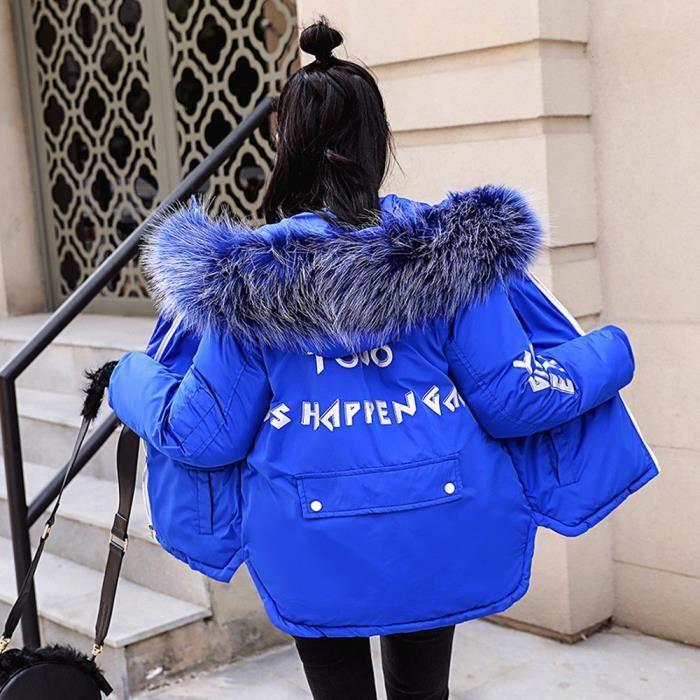 Bleu Pardessus Fausse En Manteau Chaud Veste Court Capuchon À Épais D'hiver Fourrure Les Femmes Slim wqXO66S