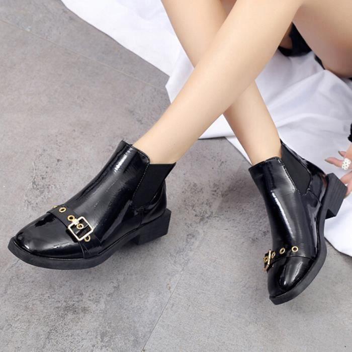 Mode Talon Boucle Courtes Chaussures Noir Boot Haut Femmes strap Sauvages Martin Bottes wzIAxttd