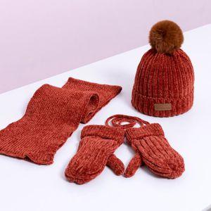 4d8209e19e5c CHAPEAU - BOB 3pcs bonnet tricoté chaud + écharpe + gants pour b