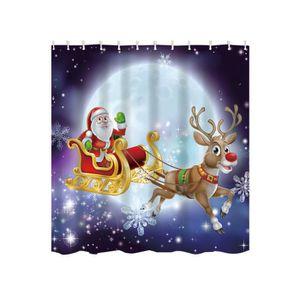 RIDEAU DE DOUCHE 1pc personnalisé Joyeux Noël tissu imperméable rid