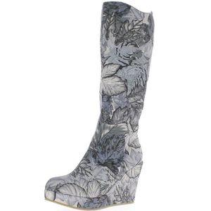 BOTTE Bottes compensées femme grises motifs floral à tal