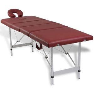 TABLE DE MASSAGE Table pliable de massage Rouge 4 zones avec cadre