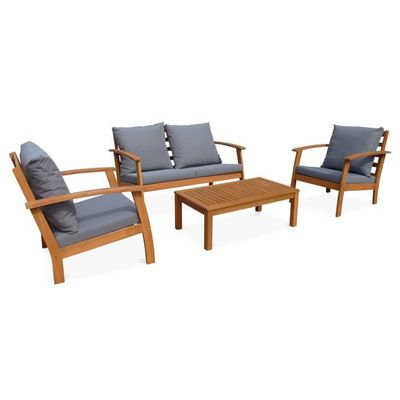 Salon de jardin en bois 4 places - Ushuaia - Coussins gris, canapé ...