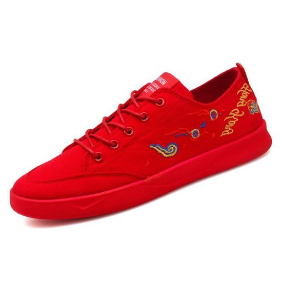 Sneaker Casual Canvas Homme Chaussures Ultralight Flattie Rouge Rouge - Achat / Vente basket