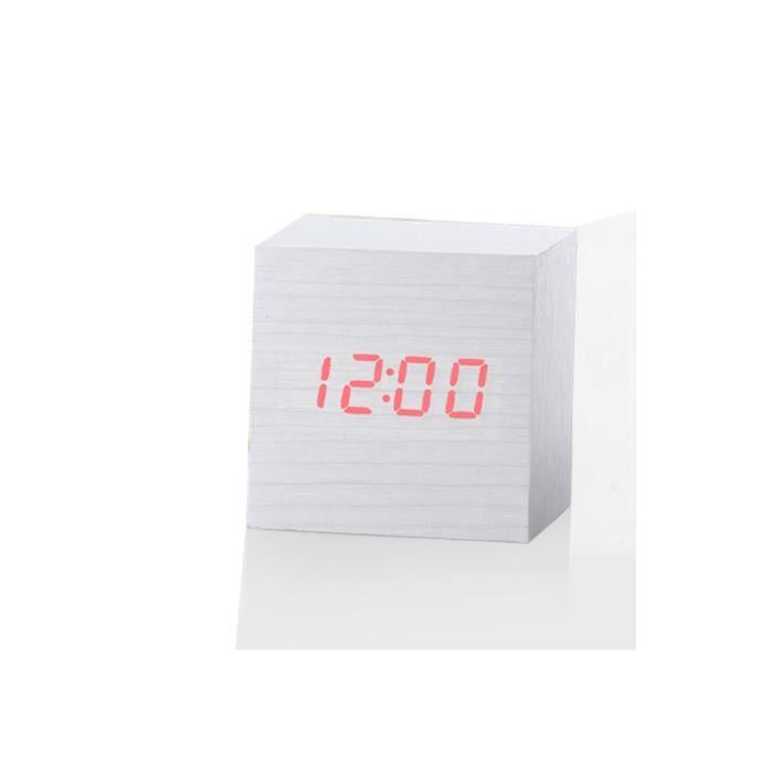 Nouveau Led Numérique En Bois Moderne Bureau Réveil Thermomètre Calendrier Minuterie @los102