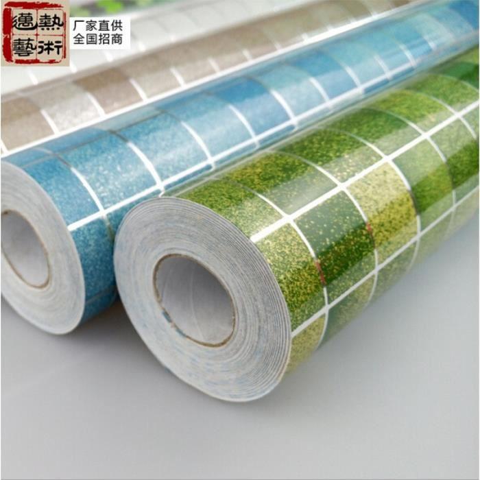 Mod le vert vinyle mosa que rouleau salle de bains murs papier tanche stickers carrelage 3 - Vinyle salle de bain ...