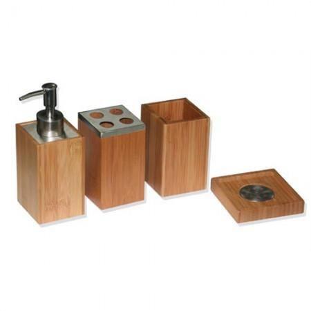 Set de 4 accessoires pour salle de bain bambou e achat for Set accessoires salle de bain design