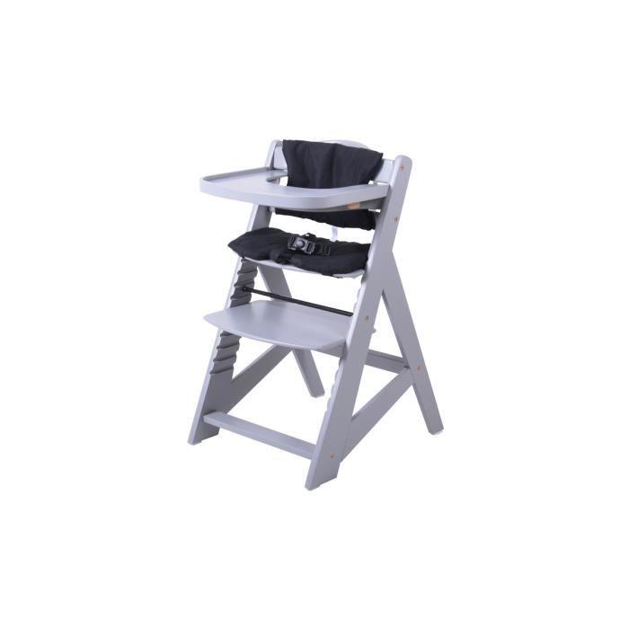 chaise haute volutive en bois moderne gris noir achat vente chaise haute 3700993531051. Black Bedroom Furniture Sets. Home Design Ideas