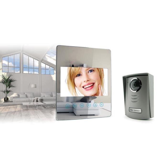 avidsen interphone vidéo 2 fils 7 pouces écran plat effet miroir