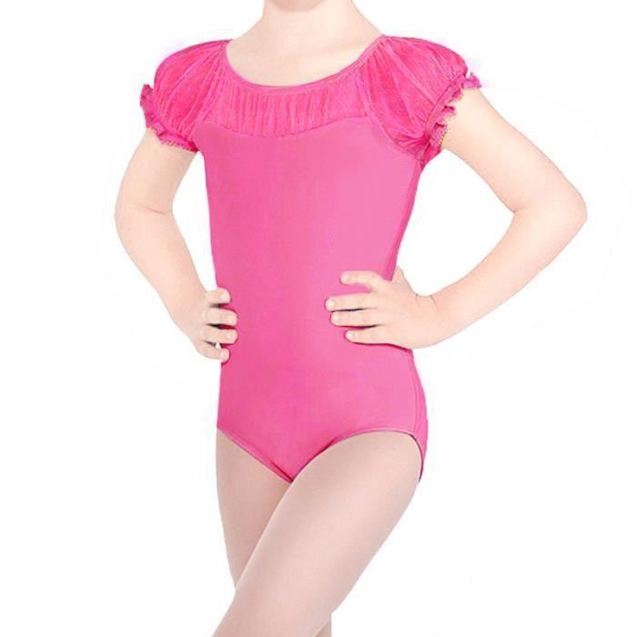 TFJH Justaucorps Danse Classique Fille Dentelle Combinaison Body de Ballet  Robe Enfant en Coton Manches Courtes 3-12 Ans 99136a0149d