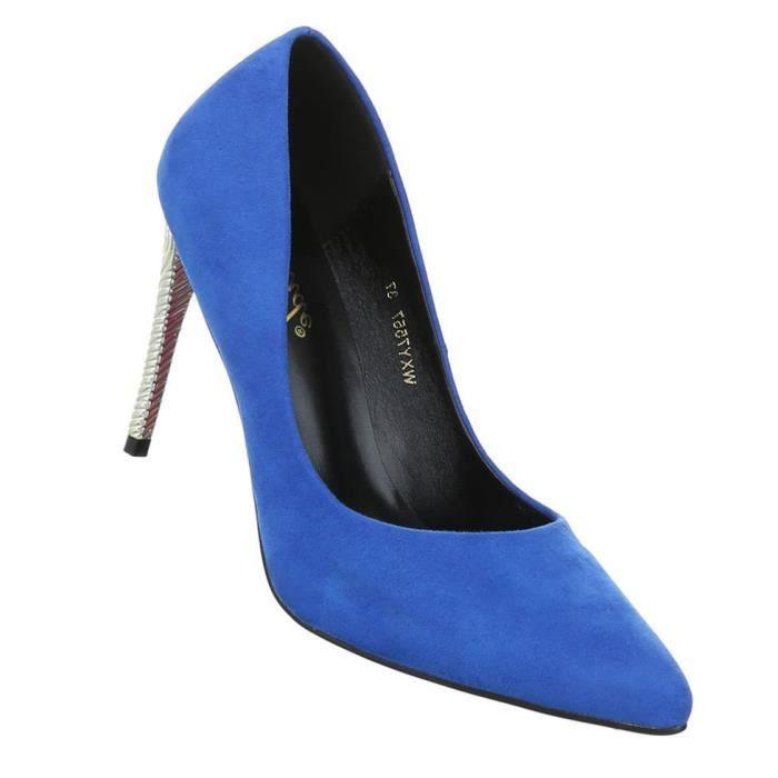 Femme escarpin chaussures Élégant High Heels bleu 36