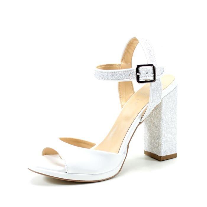 tout à fait stylé top design magasiner pour le meilleur Sandales femme blanche élégant talon confortable de 10 cm ...