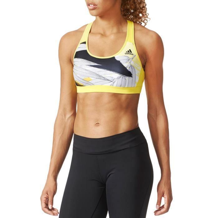 ee539ade83693 adidas Performance - soutien-gorge de sport femme - gym haut running - jaune
