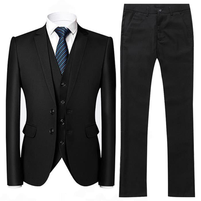 Costume Homme 3 Pièces Deguisement Tuxedo Dîner Smoking Uniforme Blazer  Business Mariage noir cb4fb057aa71