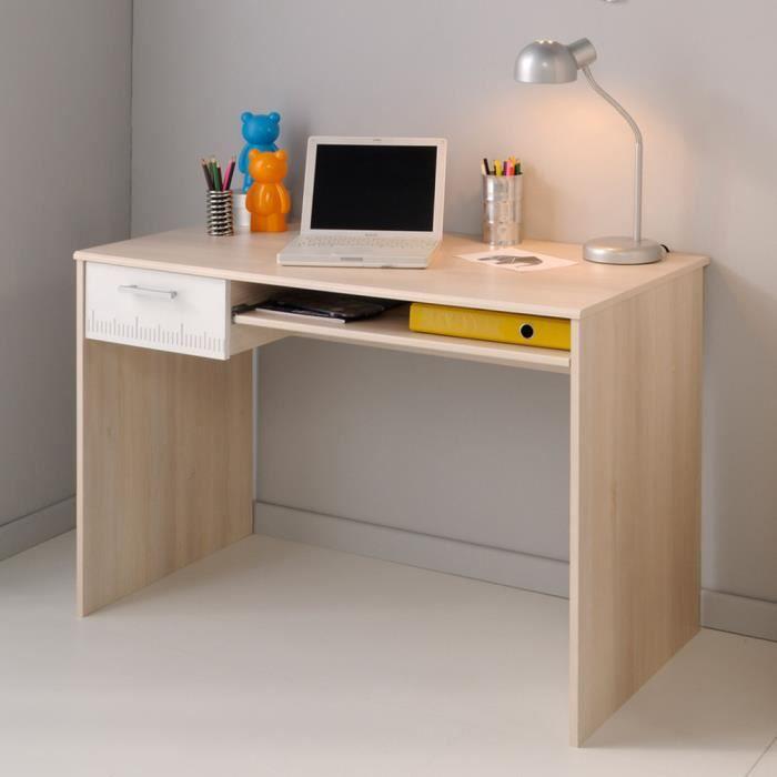 Bureau en bois avec tiroir et tablette coulissante H 75 x L 108 x