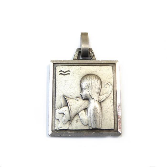 Pendentif zodiaque Verseau en argent 925 24mmx19mm - RC005328