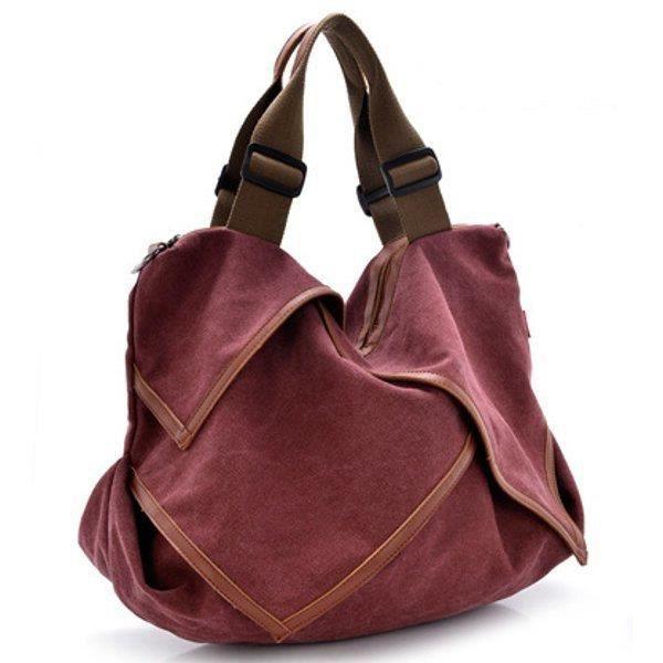 SBBKO2251Toile portable tote sacs à main fleur design épaule Sacs bandoulière sacs big bag bordeaux S
