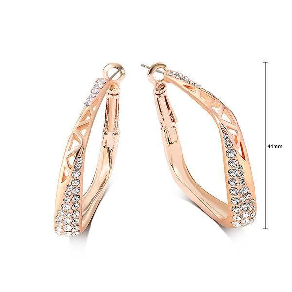 Glamorousky mode rose boucles doreilles avec blanc élément cristal autrichien plaqué or (23698)