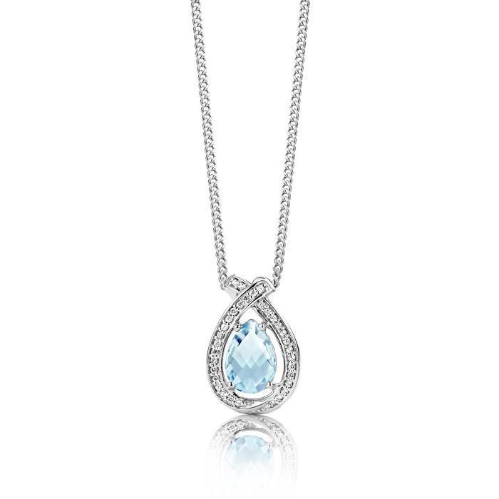 925 en forme de poire topaze bleu ciel en argent sterling Pendentif 45 cm Chaînette 1Z8P0R