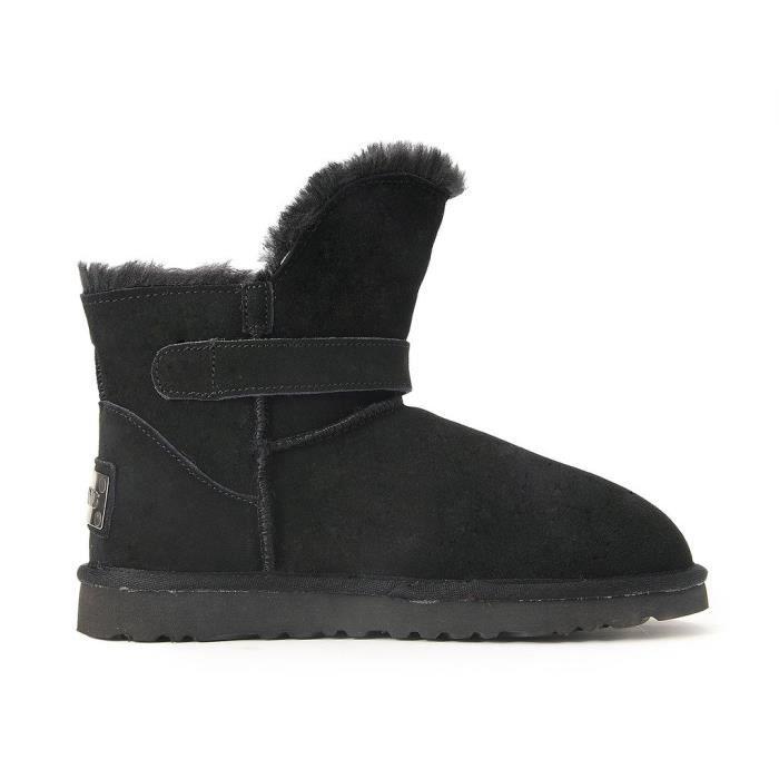Ausland Court en cuir pour femmes Botte d'hiver 99527 ZHX6G Taille-38 1-2