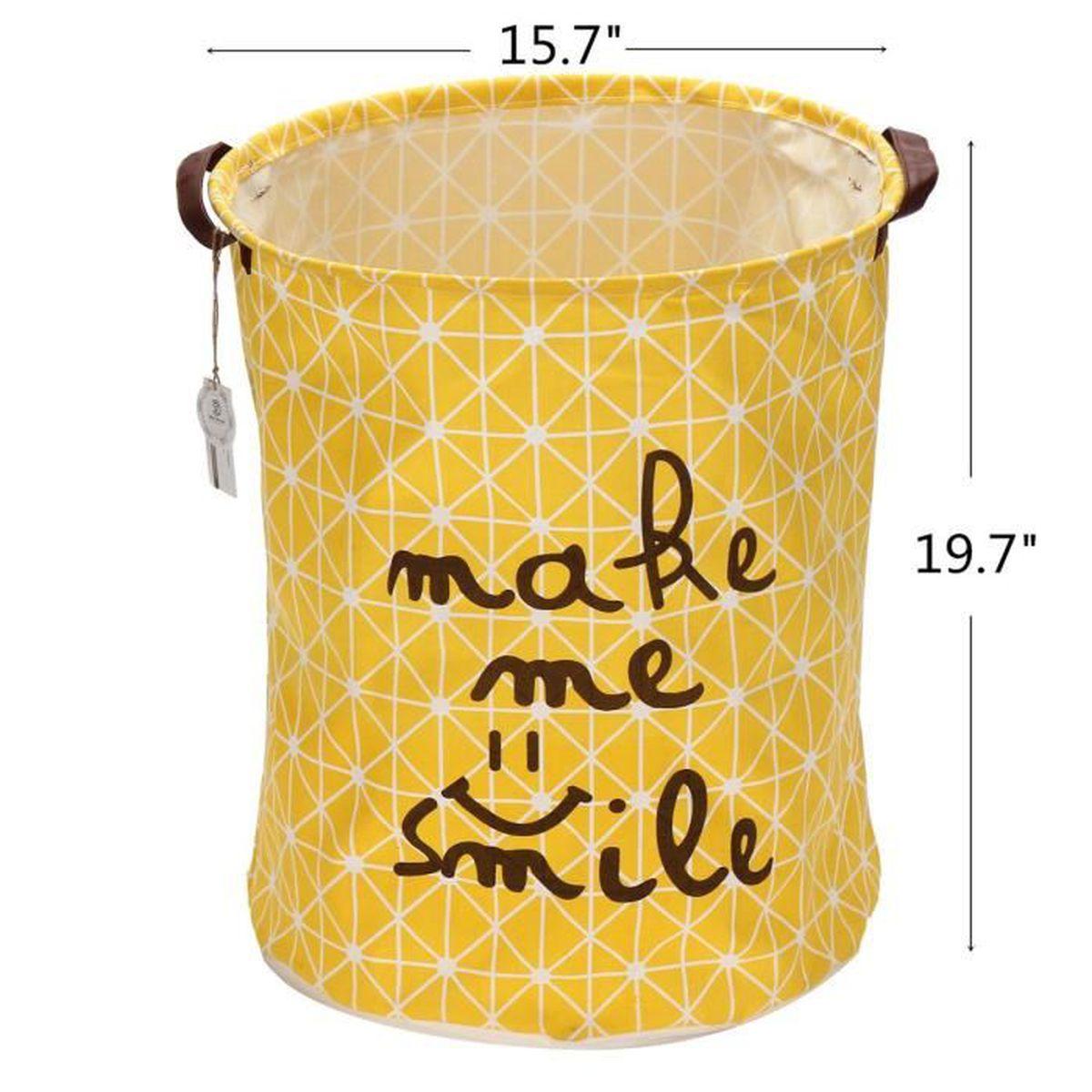 2pcs panier linge jaune en tissu de coton 40x50cm. Black Bedroom Furniture Sets. Home Design Ideas
