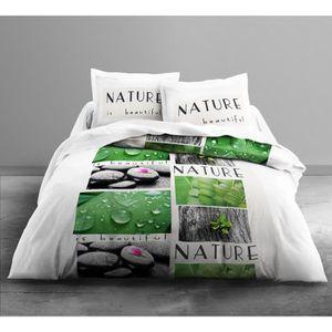 housse de couette vert achat vente housse de couette vert pas cher cdiscount. Black Bedroom Furniture Sets. Home Design Ideas