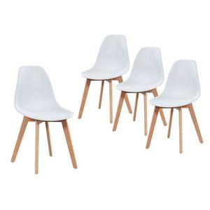CHAISE Lot de 4 chaises scandinaves coloris blanches en p