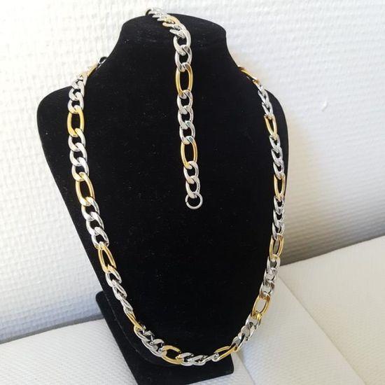 598d42bb231 Parure collier + bracelet métal argenté - Achat   Vente parure LAVAL Collier  et Bracelet H Homme Adulte -