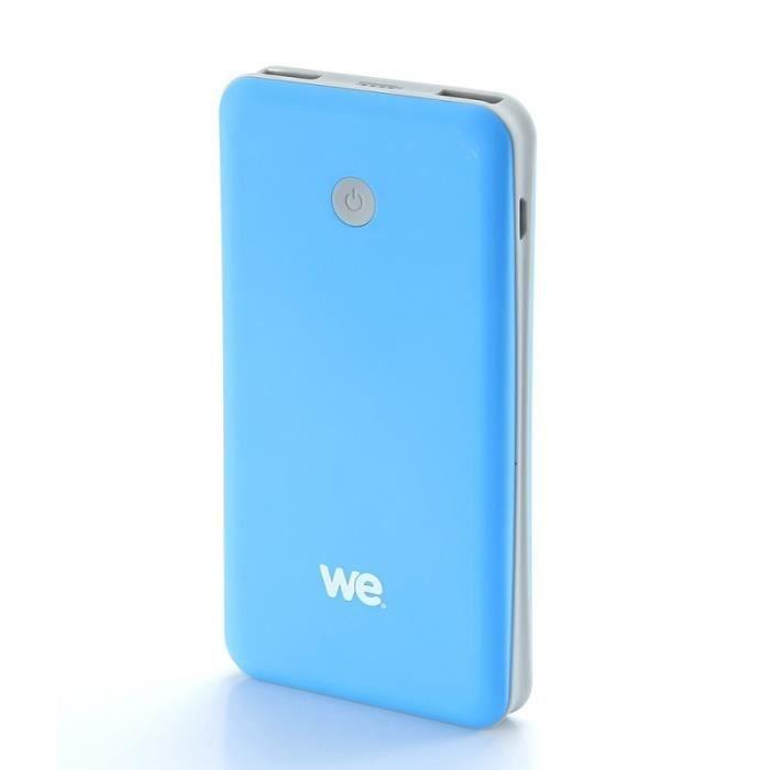 WE Batterie externe 7500mAh 2 ports USB 1A - 2.1A - Bleu et gris