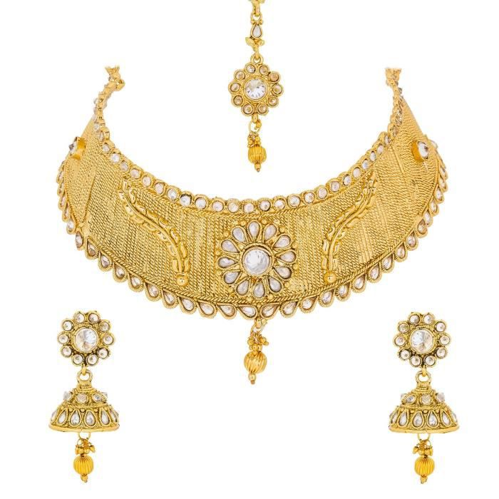 Womens Aadita Traditional Ethnic Pearl Studded Bridal Necklace Set With Earrings For AndACYK9