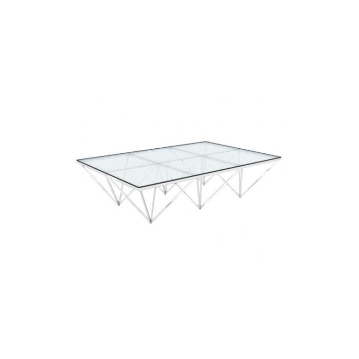 Table Basse Rectangulaire Verre Et Chrome Liege 120 X 80 Achat