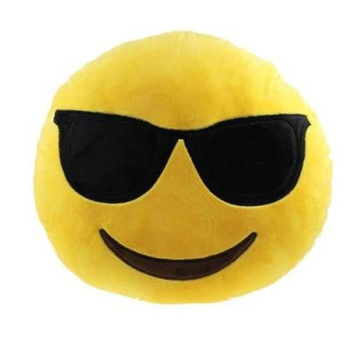 coussin emoji lunette achat vente coussin emoji lunette pas cher soldes d s le 10 janvier. Black Bedroom Furniture Sets. Home Design Ideas