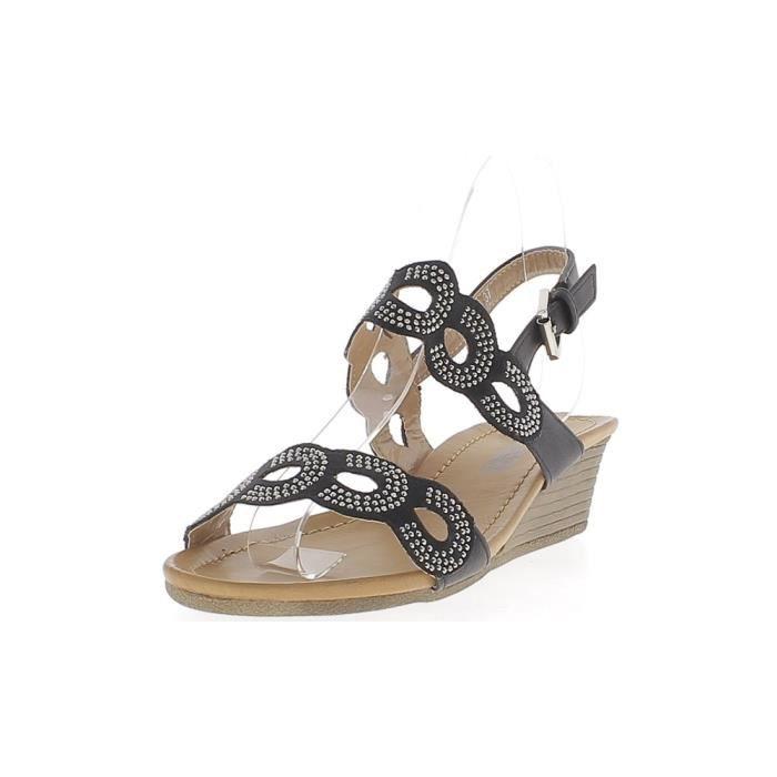 202c22449df73 Sandales compensées noires talon de 4,5cm et semelle épaisse de 1cm larges  brides avec strass