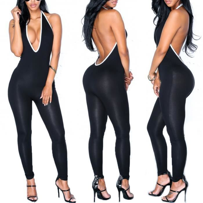 6162c234fdd Femme Combinaison Pantalon Ensemble Moulant Sans Manches Dos Nu Sexy Taille  S-XL